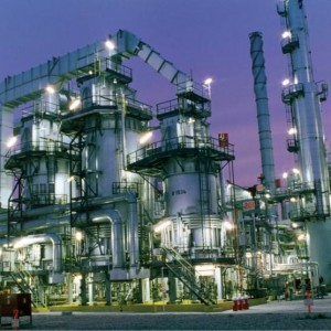 stock image - petrochem plant night